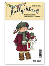 Rubber Stamp - Molly with Christmas Lantern