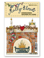 Rubber Stamp - Festive Fireplace